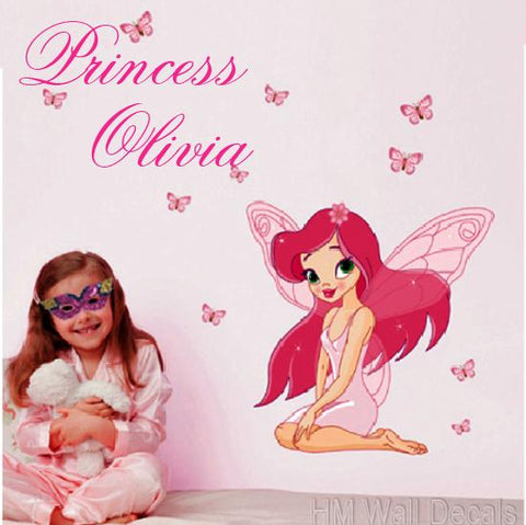 Customise Name with Fairy & Butterflies wall sticker  for kids room