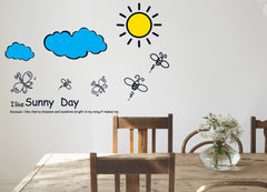 Sunny Day Bees Sun, Kids / Nursery wall decals Removable Wall Sticker