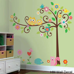 Scroll tree with OWLs removable wall decal for kids room or nursery