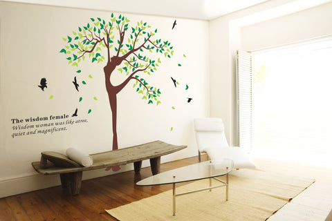 180 cm Height Tree with birds DIY Removable Wall Decal HM Wall Sticker
