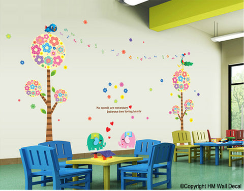 Cot side, Nursery or Kids room Floral tree with cute animals DIY Removable Wall Decal