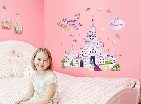 Large Castle Kids Nursery wall decals Removable Wall Sticker