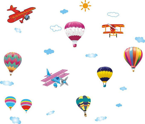 Hot air balloon, Airplanes  Removable Wall Sticker