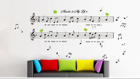 Music Notes in Black wall decals Removable Wall Sticker