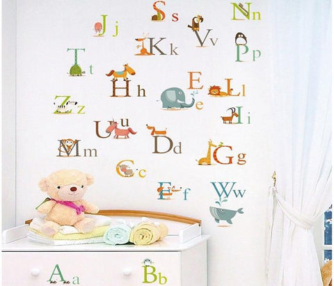 Alphabet & cute animals Removable Wall Sticker