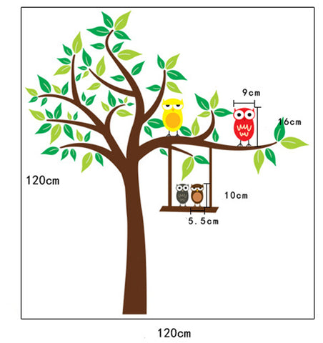 Cot Side Tree with Owls Kids DIY Removable Wall Decal HM Wall Sticker