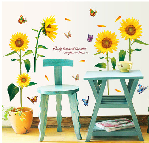 SUNFLOWER Removable Wall Sticker Wall art decal mural