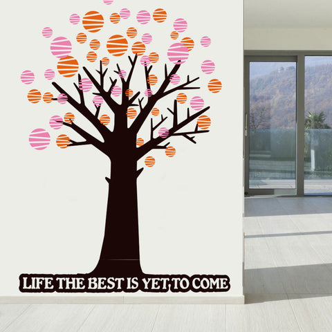 "1.8 M Heigh Polka Dot Tree & Quote ""LIFE THE BEST IS YET TO COME"" Removable Wall Sticker"