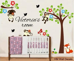 Personalised Name & Cute Monkeys wall sticker