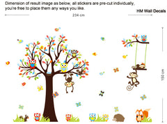 Forest Monkey, Tree, Owls, cute animals kids removable wall sticker