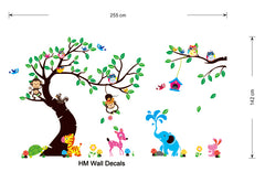 Forest Tree Monkey and cute animals kids removable wall sticker