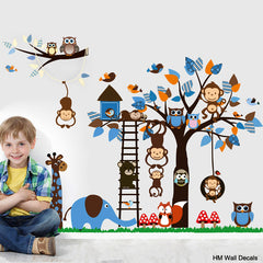 Forest Monkey, Tree and cute animals kids removable wall sticker