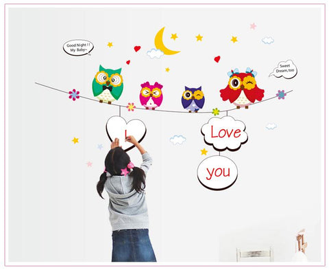 Owls  Kids wall decals Removable Wall Sticker