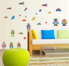 ROBOTS,ROKET SHIP,SPACESHIPS, PLANETS, STARS  Nursery / kids Removable wall decals Wall Sticker