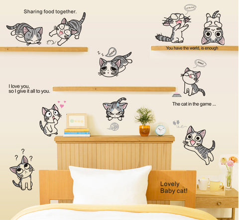 10 KITTY CAT  Nursery / Kids Removable Wall Sticker Wall Art  wall decals