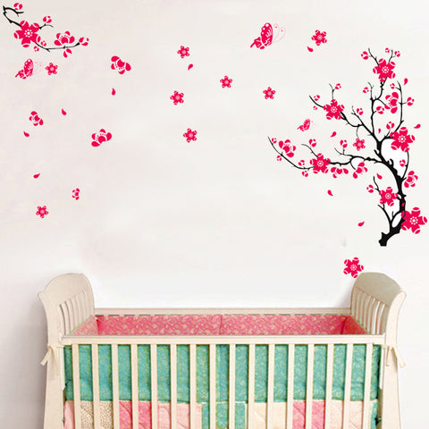 Cherry Blossom & Butterflies Removable Wall Decal Wall Sticker