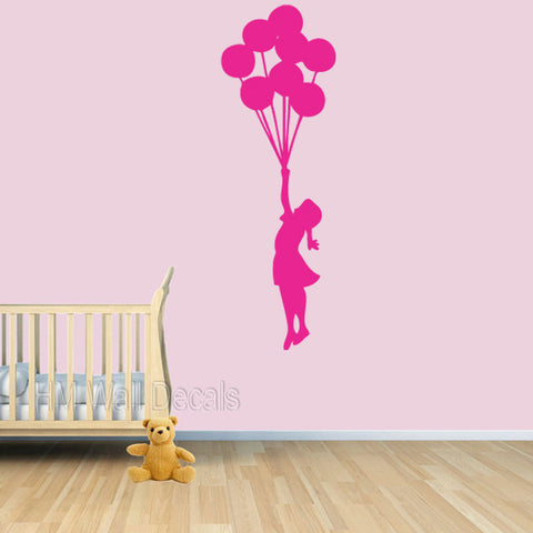 Floating Balloons & Girl - Banksy Inspired Wall Decal