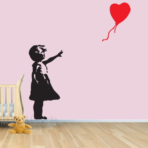 Little Girl & Floating Balloon - Banksy Inspired Wall Decal
