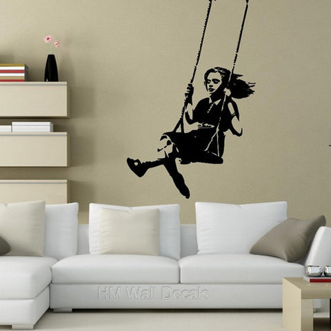 Swing Girl  - Banksy Inspired Wall Decal