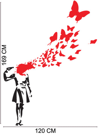 Butterfly Suicide Girl - Banksy Inspired Wall Decal Removable wall decal
