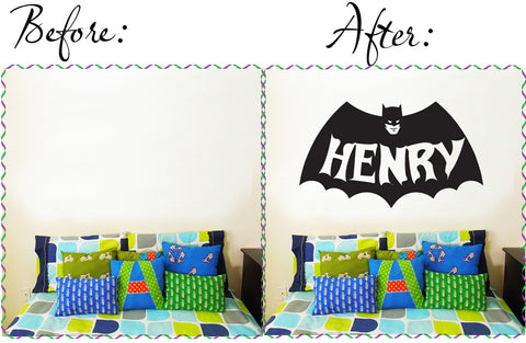Customise name & Batman Kids / Nursery removable Wall Sticker Decal