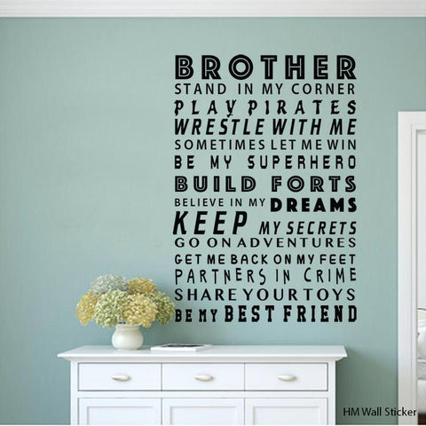 BROTHER Removable Wall Decals Wall Art