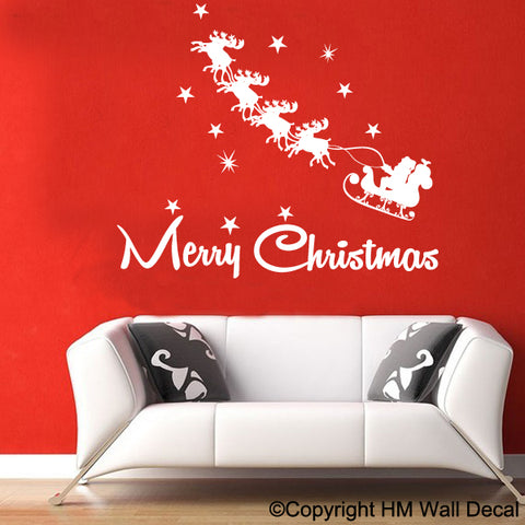 SLEIGHT & REINDERS CHRISTMAS SANTAN Wall Sticker Decal