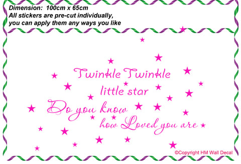 """Twinkle Twinkle little star.....""kids or nursery Removable wall sticker Wall Decal"