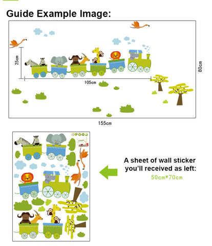 Animal Train Nursery / Kids Removable Wall Sticker Wall Art  wall decals