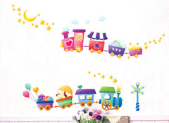 TRAIN & STARS Nursery / kids Removable wall decals Wall Sticker