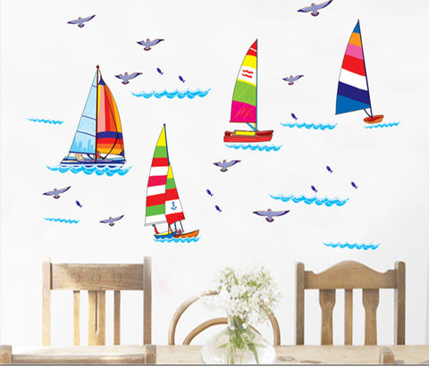 Yatcht and Seagulls Removable Wall Sticker