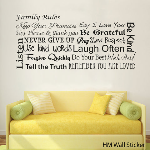 Family Rules Wall Art Decal for home Removable Wall Sticker