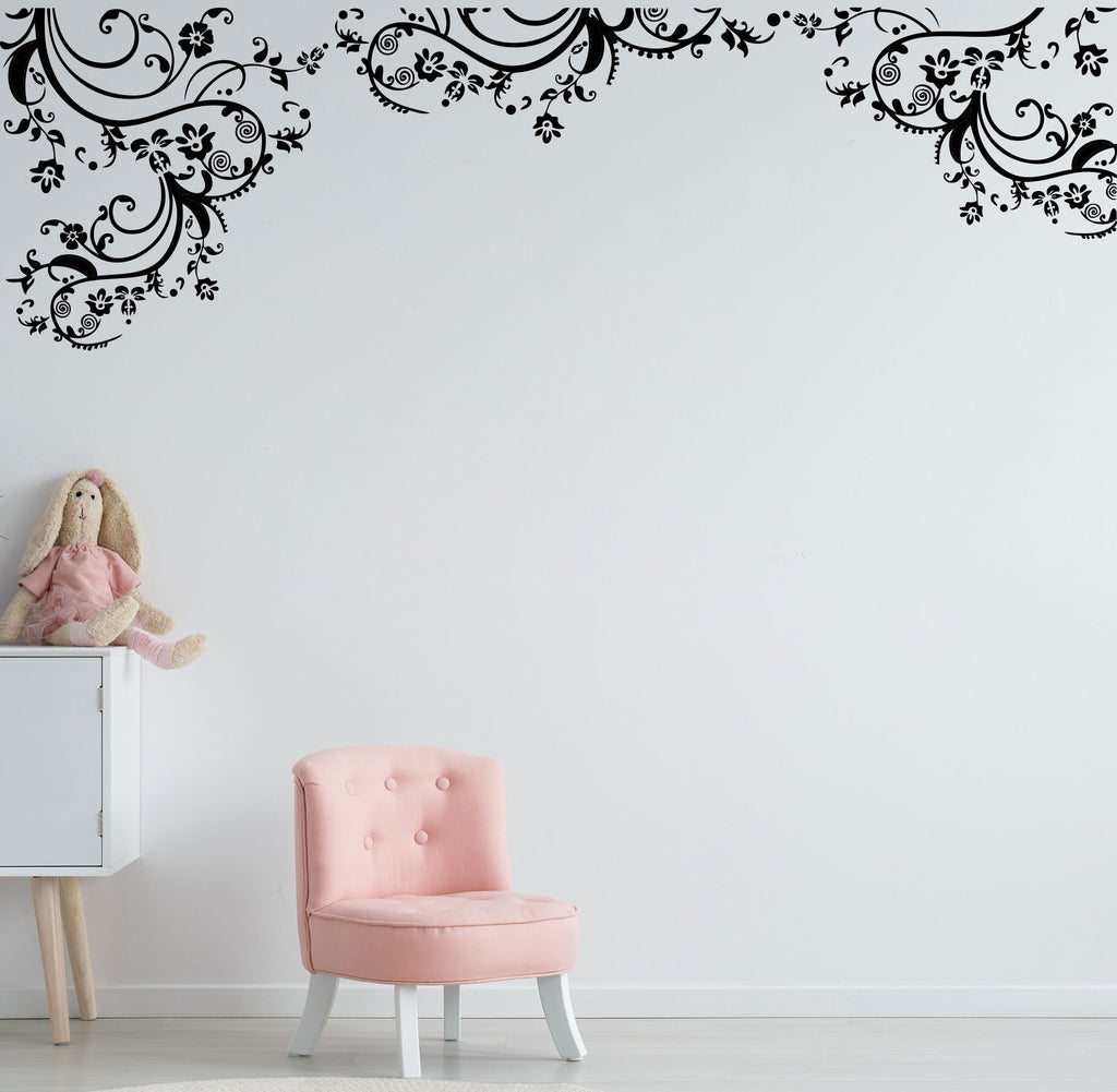 Swirls Floral Wall Art Decal Removable Wall Decal Wall Art Sticker Hm Decal