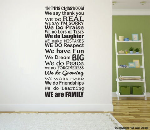 INSPIRATION Quote School CLASS ROOM Rule DIY Removable Wall Decal Wall Sticker