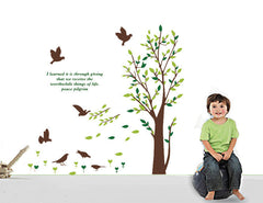 123 CM HEIGH TREE & 6 BIRDS Wall Art Decal & Quote, bring natural life to you