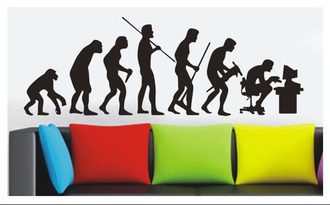 Human Evolution  Wall Art  wall decals Removable Wall Sticker in Black