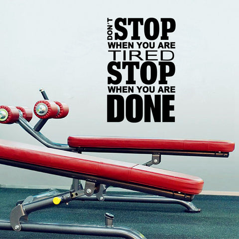 """Don't Stop When You Are Tired Stop When You Are Done"" Home Gym Removable Wall sticker Vinyl Wall Decals Mural"