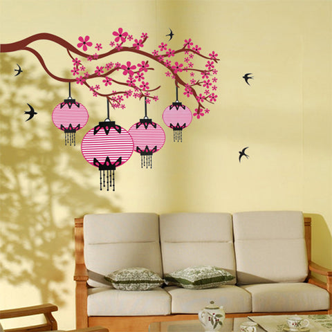 CHERRY BLOSSOM Branch & Lanterns Removable Wall Sticker Wall Art wall decals