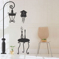 Lamp pole, Chair in black wall decals  wall decals Removable Wall Sticker