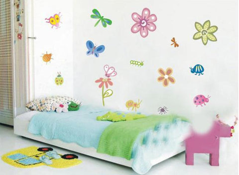 Butterflies, florals Nursery wall decals Removable Wall Sticker