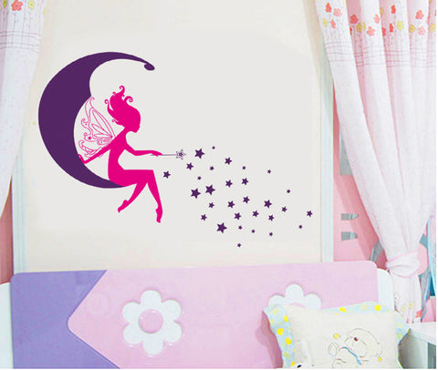 FAIRY, Moon & stars Kids / Nursery wall decals Removable Wall Sticker