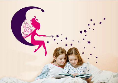 Fairy and Stars Removable Wall Sticker for Kids room