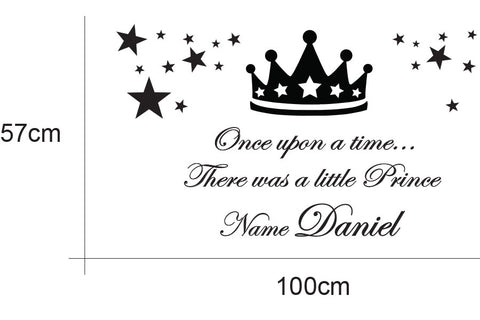 Prince crown Personalised name kids Wall Sticker Kids Room
