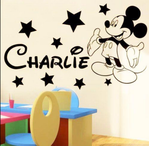 Customise name & Mickey Mouse Kids removable Wall Sticker Decal