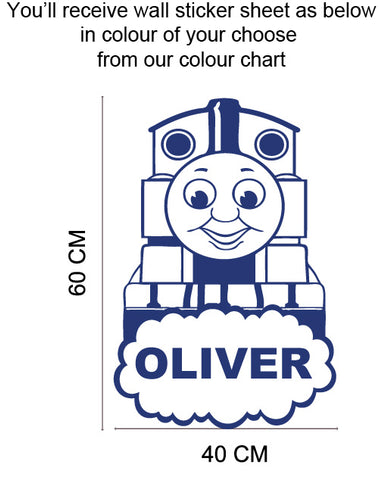Personalised Name & inspired Thomas Tank Engine Train wall sticker kids room