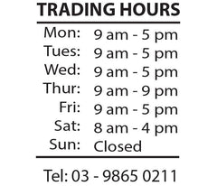 Customise OPENING TRADING HOURS Vinyl Lettering sticker