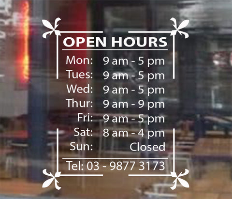 Personalised OPENING TRADING HOURS Vinyl Lettering sticker