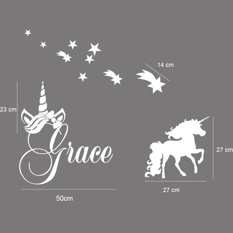 Personalised Name & UNICORN, STARS Kids Removable Wall Decal