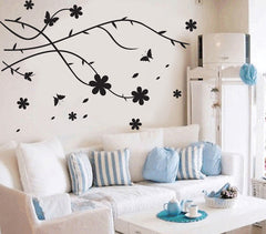 Floral Wall Art in Black wall decals Removable Wall Sticker
