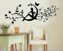 Floral and moon in Black wall decals Removable Wall Sticker